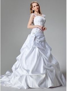 Wedding Dresses - $276.99 - A-Line/Princess Chapel Train Satin Wedding Dress With Embroidered Sequins  http://www.dressfirst.com/A-Line-Princess-Chapel-Train-Satin-Wedding-Dress-With-Embroidered-Sequins-002000436-g436