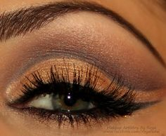 Try an open cut crease to brighten up your eyes. Use flattering chocolate brown and amber shadows.