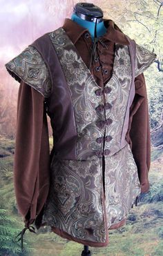 Brown Paisley and Faux Leather Jerkin Size M by Mordork on Etsy, $75.00