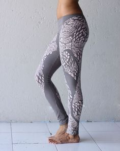 Owl Leggings - Printed Leggings - Graphic Leggings - Gray Leggings - Organic Cotton Leggings on Etsy, $68.94 CAD