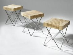 Spring Wood Chair Collection by Carolien Laro wooden furniture design metal legs http://www.woodz.co/spring-wood-chair-collection/