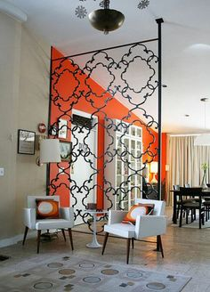 Architecture Partitions Dividers 2 Metal Works DAILY DOSE OF ART Pertaining To Wrought Iron Room Plans 24 Shelving Units For Wall Mounted Tv Shoe Organizers Small Closets 7 Foot Tall Bookcase Interior Sliding Barn Door Kits Grey Velvet Dining Chairs Home Interior, Interior And Exterior, Interior Decorating, Orange Interior, Home Living, Living Room, Decorative Room Dividers, Floating Shelves Diy, Mid-century Modern