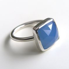 Blue Chalcedony Ring Sterling Silver Ring Square by LuttrellStudio
