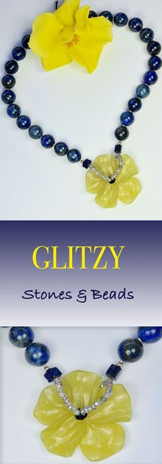 JADE FLOWER Necklace handmade with lapis lazuli beads ending with an amazing yellow JADE flower and small beads in Labroadorite stones By GLITZY .SPRING SALES ON,pls check on my Etsy Shop listing!