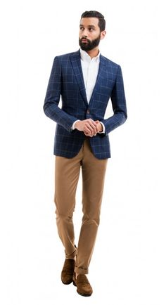 Hudson Navy Windowpane Blazer