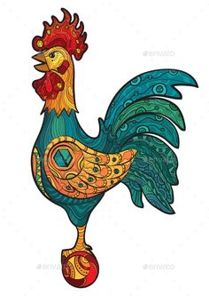 Decorative Cock (Vector EPS, CS, animal, art, beautiful, bird, cartoon, chicken, cockerel, colored, crest, decoration, design, domestic, drawing, farm, feather, graphic, head, illustration, isolated, male, ornate, painted, pet, poultry, rooster, rural, tail, vector, wing)