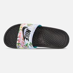 the best attitude c2c37 dc180 Top view of Women s Nike Benassi JDI Print Slide Sandals in Pure Platinum Bl  -