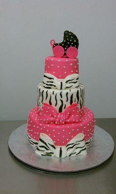 Hot pink, polkadots, zebra baby shower cake | by Little Sugar Bake Shop