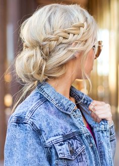 Messy updo with side braid.