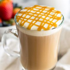 A completely homemade copycat Starbucks Caramel Macchiato recipe. Easy to make from scratch and absolutely delicious! sub Splenda/Truvia for sugar ^ sub sugarless caramel Starbucks Recipes, Coffee Recipes, Starbucks Caramel Macchiato Recipe, Caramel Recipes, Homemade Butter, Dessert Recipes, Brunch Recipes, Drink Recipes, Coffee Latte