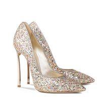Tamaño 33-43 mujeres de moda shoes10cm tacón de aguja matel de tacón alto sexy talón punta estrecha zapatos con lentejuelas, tamaño 12 womens fetiche bombas