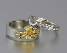 Sun and Moon ECLIPSE engagement ring set in & silver with Yellow Sapphire – size is ready to ship - Engagement Rings Vintage Silver Wedding Rings, Wedding Jewelry, Wedding Bands, Silver Rings, Map Wedding, Celtic Wedding, Wedding Venues, Cute Jewelry, Jewelry Rings