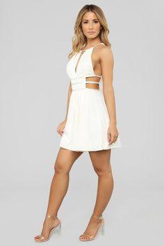 My Love Above Cutout Dress - Cream – Fashion Nova Sexy Outfits, Cute Outfits, Fashion Outfits, Ivory Dresses, Sexy Dresses, Hot Dress, Dress Skirt, Sexy Legs And Heels, Great Legs