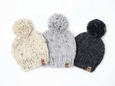 Quick and Easy Chunky Pompom Hat Free Knitting Pattern Beanie Knitting Patterns Free, Beanie Pattern, Free Knitting, Knitting For Kids, Knitting For Beginners, Knitting Projects, Crochet Patterns, Crochet Projects, Sewing Patterns