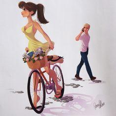 Girl riding bike, bicycle. Illustration / Ragazza va in bici, bicicletta. Illustrazione - Art by Pernille