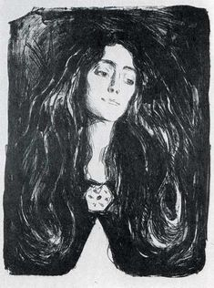 edward munch.....The Brooch..  Dark mysterious frightening feminine  beauty.