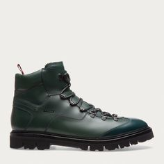 CHARLS. A continuation of our popular urban hiking boots, this dark green leather version is styled with a black contrast rubber lug sole . Shop the Charls bootie from Bally US.
