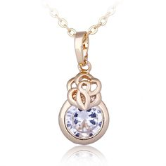 45cm Fashion 18K Gold Plated Copper Necklace Jewelry Pendant Inlaid Round Zircon for Women
