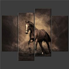Wall Paintings - Pin it :-) Follow us, CLICK IMAGE TWICE for Pricing and Info . SEE A LARGER SELECTION of wall paintings at http://azgiftideas.com/product-category/wall-paintings/ - gift ideas, house warming gift ideas, home decor - 4 Piece Wall Art Painting Print On Canvas The Picture Horse Sepia Cascade Pictures For Home Modern Decoration Oil