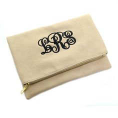 Beige Monogrammed Foldover Clutch - BeauJax Boutique Perfect for back to school! This gorgeous Beige Monogrammed Foldover Clutch is the perfect size for carrying lots of necessities and is made from vegan leather that looks, feels and performs like leather! www.beaujax.com