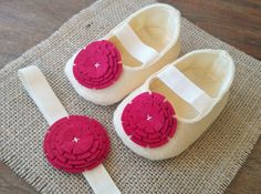 BFS- Buy 2 Get 1 FREE. IVORY Baby Mary Janes. Felt Shoes.Booties. New Baby Gift. Ballerinas. Baby Fashion. Set Of Shoes and Headband.. $28.00, via Etsy.