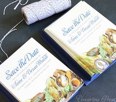 3 Lovely Nautical Save the Dates in Blue