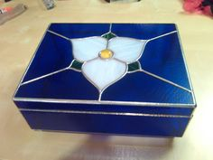 Custom stained glass box.  Made for a customer to store remotes and accessories.