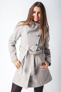 High Neck Belted Coat with Asymmetric Button Closure - Jackets & Coats - Clothing  http://jessyss.com/clothing/jackets-coats/high-neck-belted-coat-with-asymmetric-button-closure.html?barva=