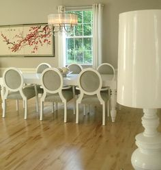 modern dining room idea white French dining chairs with grey upholstered seating white dining table pale toned wood floors white walls with Sakura decorative picture modern pendant lamp of French Provincial Dining Set, Best Choice for Fine Dining & French Life