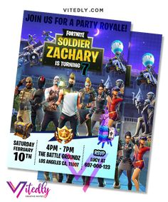 Fortnite Invitation Season Digital Files will be delivered within or less! FREE Thank you card included! Digital Invitations, Birthday Invitations, E Invite, Free Thank You Cards, Text Messages, Rsvp, Birthday Parties, Arts And Crafts, File Format