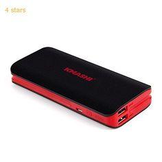 KMASHI 10000mAh Portable Power Bank with Dual USB Ports 3.1A Output and 2A Input  Black