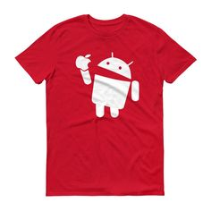 Android eating an Apple - T-Shirt (white print)
