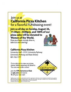 Fundraiser to support women refugees in Utah - California Pizza Kitchen | Women of the World