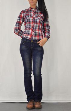 Γυναικείο πουκάμισο καρό με τσέπες POUK-1644 Skinny Jeans, Plaid, Pants, Shirts, Tops, Women, Fashion, Gingham, Trouser Pants