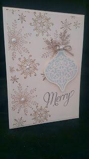 Stampin Up! Snowflake soiree, Serene Snowflake, and Ornament Keepsakes Christmas card