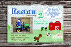 Barnyard Farm theme birthday invitation $15