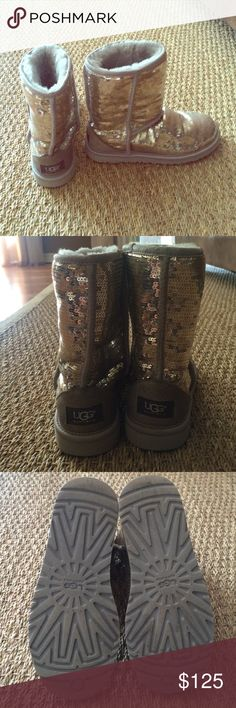 Ugg Boots, Size 6 Ugg Boots, Size 6, silver sequin. Gently worn, still fluffy inside! UGG Shoes Winter & Rain Boots