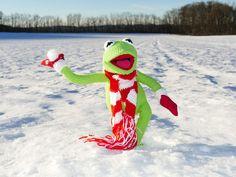 Kermit, Frosch, Schneeball, Werfen, Schnee, Winter