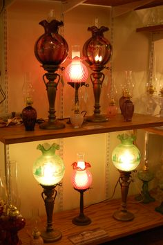 Oil lamps at Lehman's in Kidron, Ohio - Love oil lamps of any kind - and these are gorgeous!!