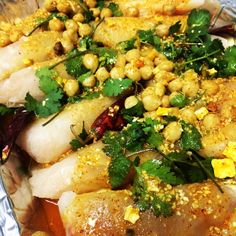 Moroccan fish with coriander, garlic and chickpeas