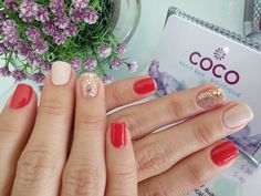 Gelish- All that Glitters is Gold- Need a Tan- Red Roses