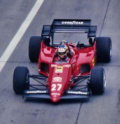 Michele Alboreto in 1984 driving a Ferrari Ferrari F1, Ferrari Scuderia, Ferrari Racing, F1 Racing, Racing Team, Lamborghini, Grand Prix, Michele Alboreto, Nascar Race Cars