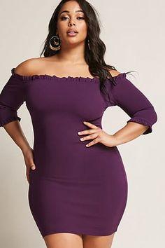 Plus Size Ruffle Off-the-Shoulder Dress