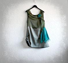 Olive Green Shabby Style Upcycled Tunic Top Teal Blue Tattered Clothing Boho Chic Womens Wear Reconstructed Clothes Eco Fashion XL 'NATASHA' on Etsy, $64.00