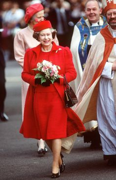 According to the royal fashion trackers, Queen Elizabeth II prefers the color blue, wearing it 25% - 28% of the time. But I love her in Red!