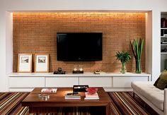 Living Room Tv Wall Decor Apartments Interiors Ideas For 2019 Brick Wallpaper Living Room, Living Room Tv, Tv Wall Design, House Design, Tv Wall Decor, Exposed Brick Walls, Living Room Designs, Family Room, Home Decor