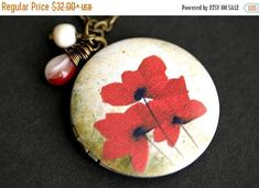 VALENTINE SALE Red Poppy Locket Necklace. Red Poppies Necklace with Beige and Red Teardrop and Fresh Water Pearl Charm. Red Flower Necklace. by TheTeardropShop from The Teardrop Shop. Find it now at http://ift.tt/2BrI6wP!