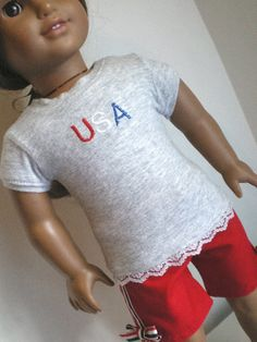 U S A  Shirt   Shorts American Girl Doll Clothes by fashioned4you, $15.00