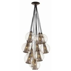 Caviar Fixed Small Brown Nickel & Smoke Glass Cluster Arteriors Home