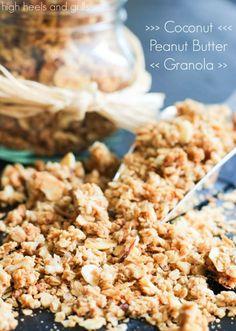Coconut Peanut Butter Granola. #easy #recipe #snack http://www.highheelsandgrills.com/2014/01/coconut-peanut-butter-granola.html